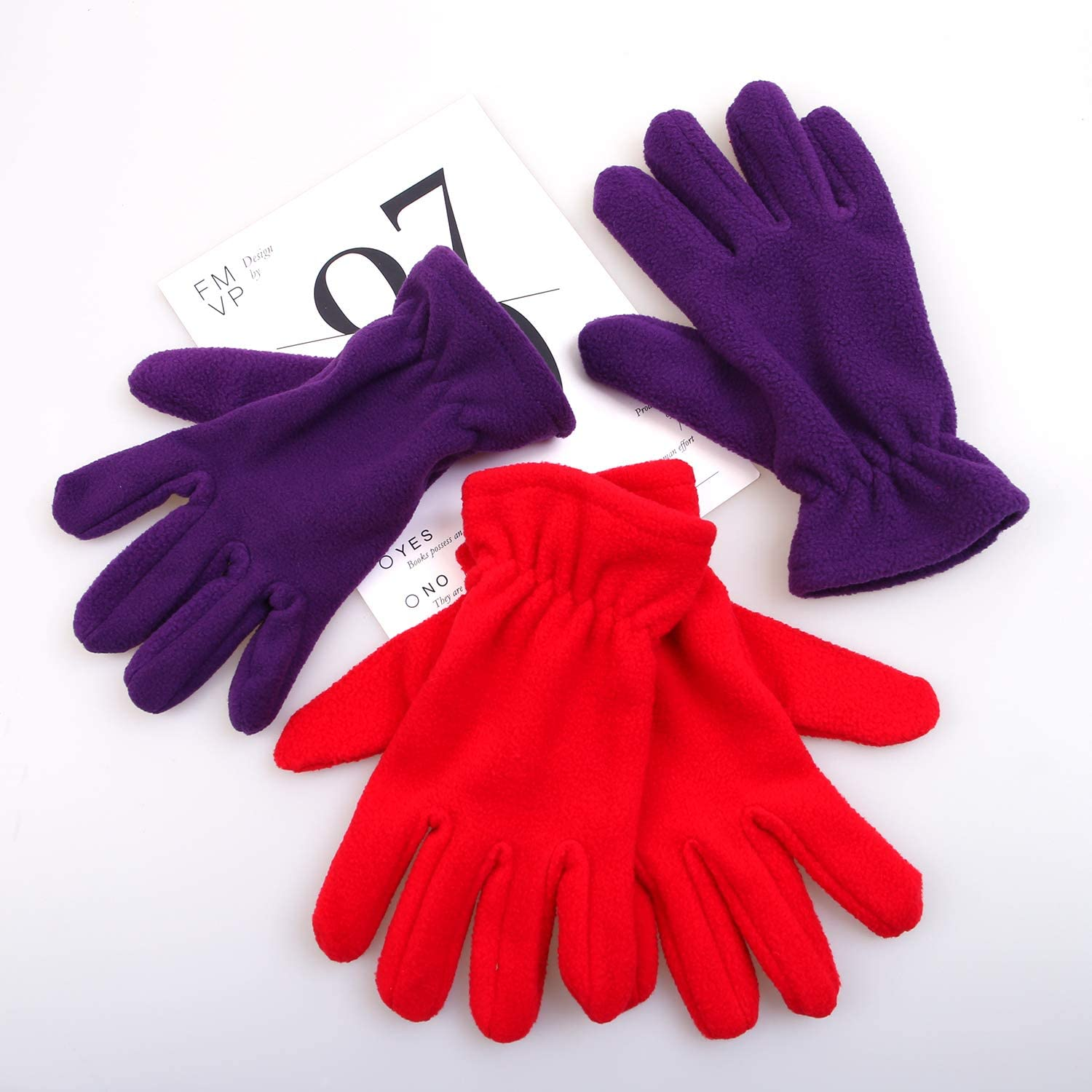 Cooraby 2 Pairs Kids Winter Gloves Polar Fleece Warm Gloves for Winter Cold Weather Supplies