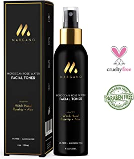 Natural Facial Toner w/Moroccan Rose Water, Witch Hazel, Rosehip and Aloe | Tone, Sooth, Moisturize, Re-energize| All Skin Types. Oil Free, 4oz