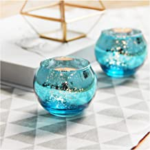 SHMILMH Round Blue Votive Candle Holders for Table, Set of 12 Mercury Glass Tealight Candle Holders Bulk with Speckled, Ch...