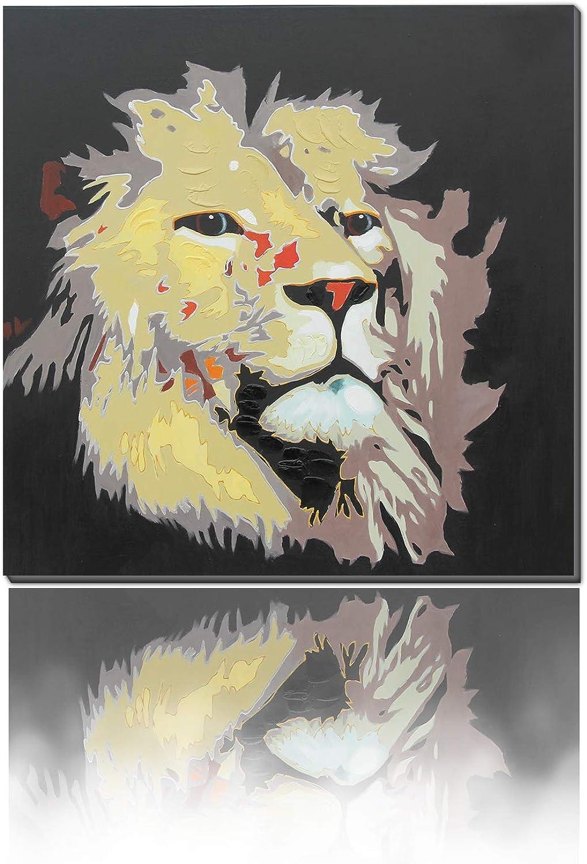 Original 30 x 30 Modern golden Line Abstract Lion Contemporary Animal Art Handmade by Z.Shingya