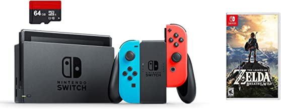 Nintendo Swtich 3 items Bundle:Nintendo Switch 32GB Console Neon Red and Blue Joy-con ,64GB Micro SD Memory Card and The Legend of Zelda:Breath of the Wild