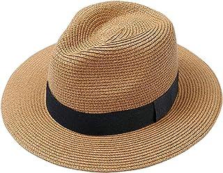 5520af3ca55 Lanzom Men Wide Brim Straw Foldable Roll up Hat Fedora Summer Beach Sun Hat  UPF50+