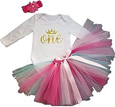 AISHIONY 3PCs Baby Girls' 1st Birthday Tutu Onesie Skirt Dress Headband Outfit
