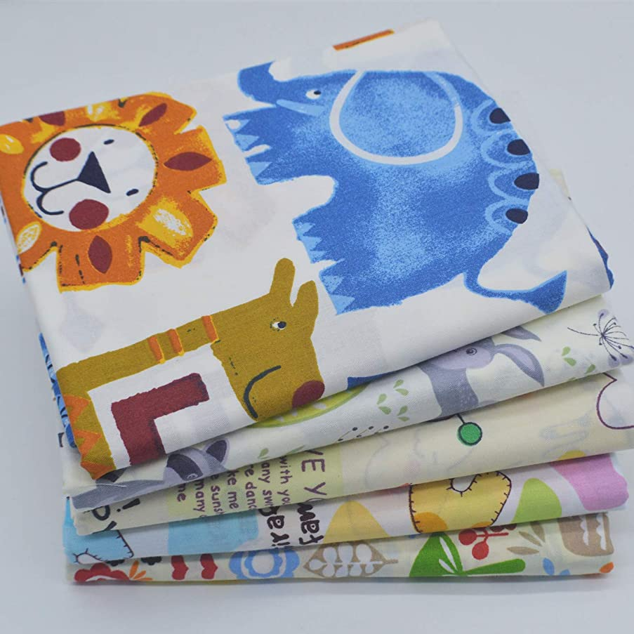 iNee Zoo Animals Fat Quarters Fabric Bundles, Animal Fabric for Sewing Crafting, 18