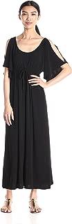 Women's Slit Flutter Sleeve Maxidress with Empire Drawstring Waist