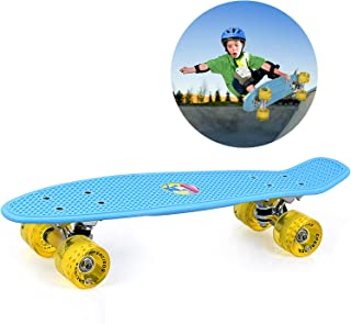 GASACIODS 22 Inch Mini Cruiser Skateboard, Complete Plastic Retro Board with Bendable Deck and Smooth PU Casters/Speed for Kids Youths Beginners, 220 Ibs