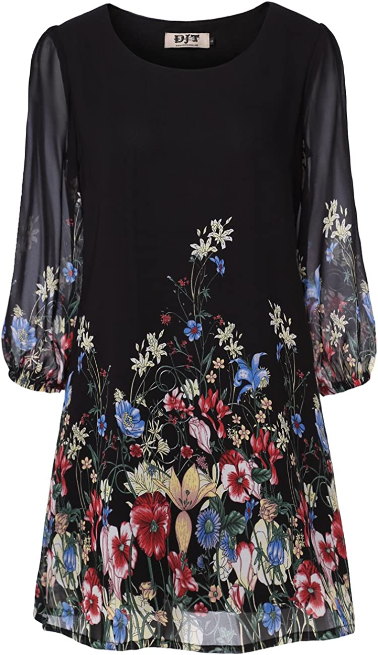 DJT New Orleans Mall Women's Floral Pattern 3 4 5 popular Dr Fit Loose Chiffon Tunic Sleeve