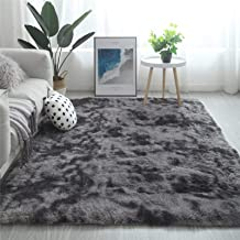 Modern Shaggy Rugs Fluffy Soft Touch Dazzle Sparkle Area Rug Carpet Large for Living Room Bedroom Floor Mat (Dark Grey,140...