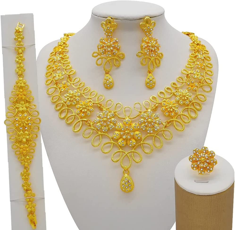 QXZ-WOLFBERRY Nigeria Dubai 24K Gold Fine Flowers Jewelry Sets African Bridal Wedding Gifts Party for Women Bracelet Necklace Earrings Ring Se (Metal Color : BJ907-1)