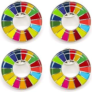 4個 SDGs バッジ 国連 ピンバッチ バッヂ 高級 人気 オシャレ ピン ギフト 丸み仕上げタイプ 留め具8個付き
