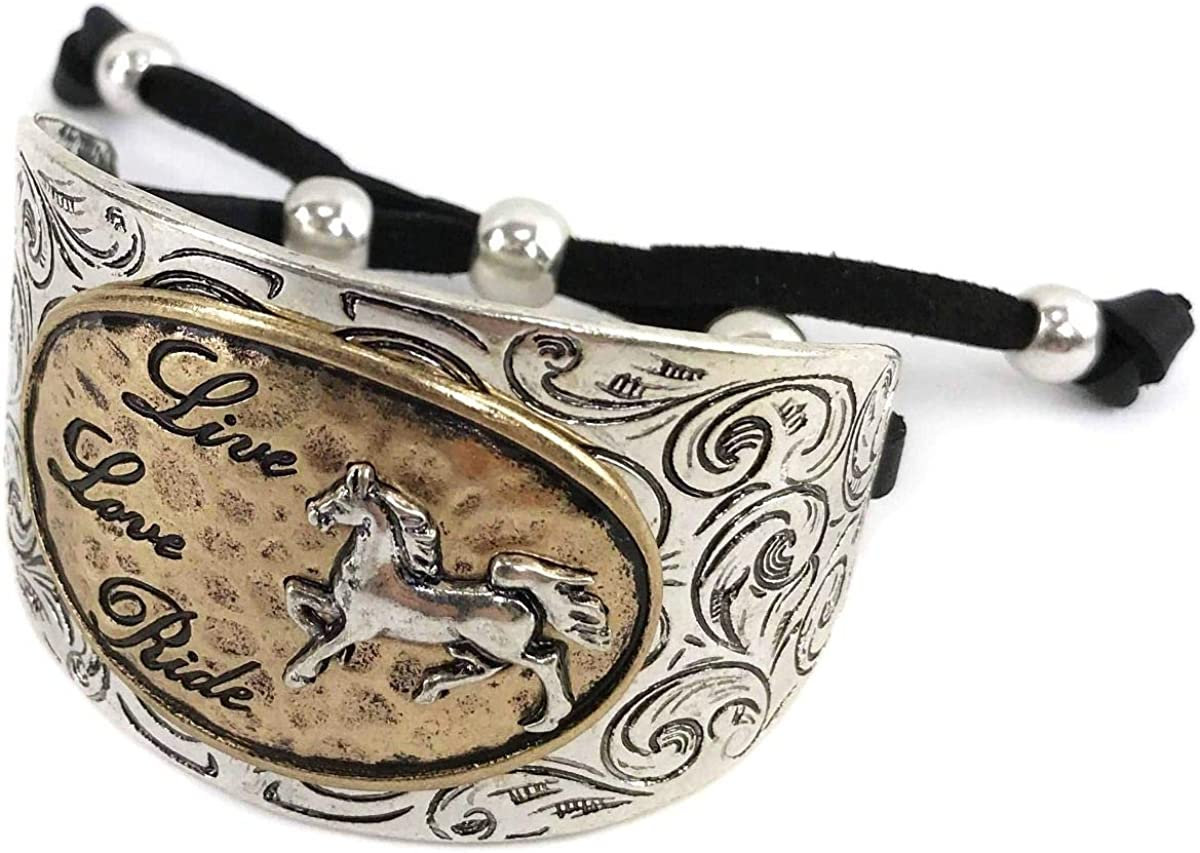 Western Peak Women Horse Live Love Ride Color Leather Cuff Bracelet