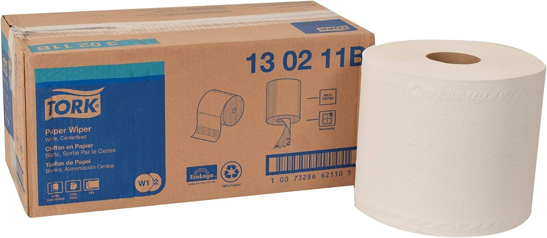 Tork 130211B Paper Wiper, Centerfeed, 2-Ply, 9.00  Width x 866' Length, White (Case of 2 Rolls, 800 per Roll, 1,600 Wipers per Case)