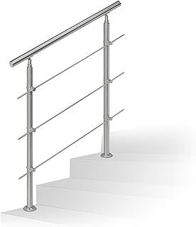 Barandilla para escalera Relaxdays de acero inoxidable, pasamanos adecuado para interior y exterior, 1