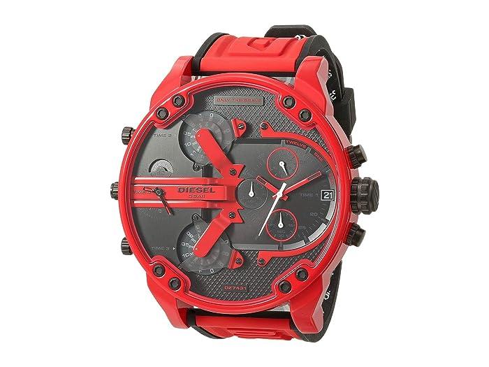 Diesel  Mr Daddy Three-Hand Silicone Watch (Red) Watches