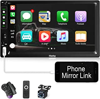 Hieha Double Din Car Stereo with Bluetooth Car Audio Receiver Support BT/TF/USB/AUX, Touch Screen 7 inch Car MP5 Player FM Radio with Rear View Camera, Phone Mirror Link, Steering Wheel Controls