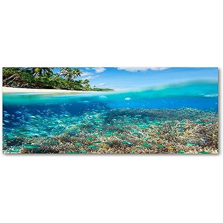 Pier Au Bord du Lac Paysage Tulup Impression sur verre100x50 cm Image Tableau Photo d/écorative panoramique pour la Cuisine et Le Salon Orange
