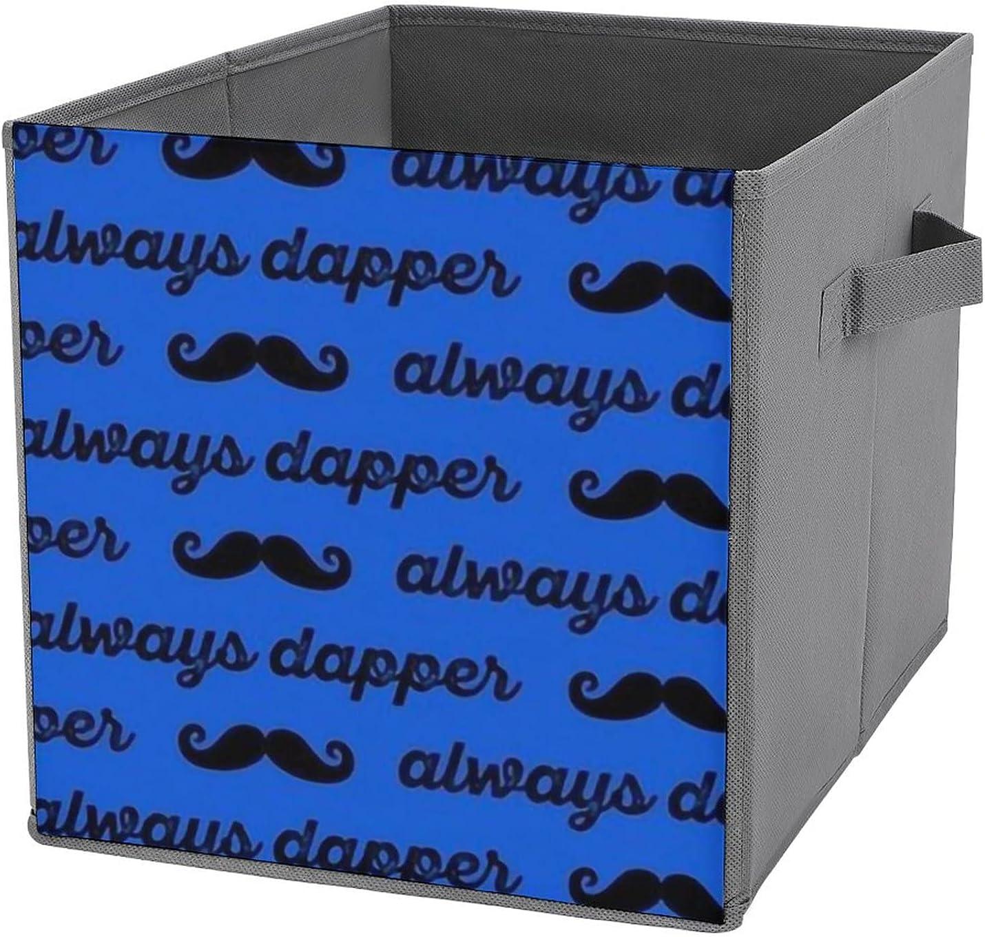 MMJUI Always Dapper Mustaches Black It is very popular Blue Folding on Storage Bins Oakland Mall