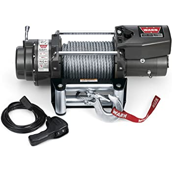 """WARN 68801 16.5ti Series Electric 12V Heavyweight Thermometric Winch with Steel Cable Wire Rope: 7/16"""" Diameter x 90' Length, 8.25 Ton (16,500 lb) Pulling Capacity"""