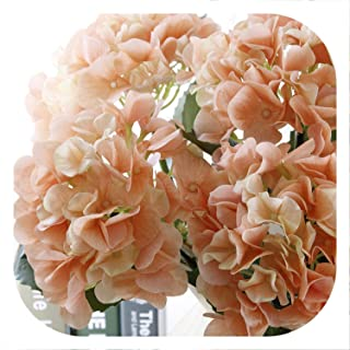 Memoirs- Real Touch Hydrangea Artificial Flowers for Wedding Home Party Decorative Fake Flower Hydrangea Branch,Orange