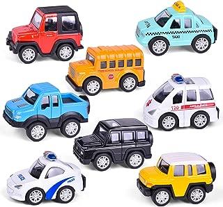 FunLittleToys Pull Back Vehicles for Toddlers & Kids - 8 Packs, Friction Powered Car Set