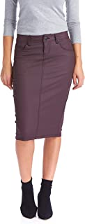 Women's Pencil Skirt – Wax Coated Denim - Modest - Faux Leather - London