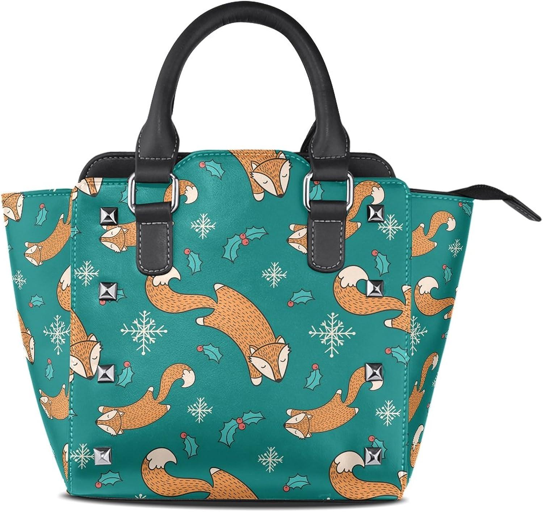 My Little Nest Women's Top Handle Satchel Handbag Cute Fox Ladies PU Leather Shoulder Bag Crossbody Bag