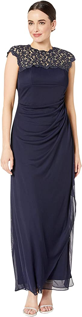 34600b9dca3ea Alex Evenings. Tea Length A-Line Rosette Dress. $199.00. Long Cap Sleeve  Dress with Metallic Lace Neckline