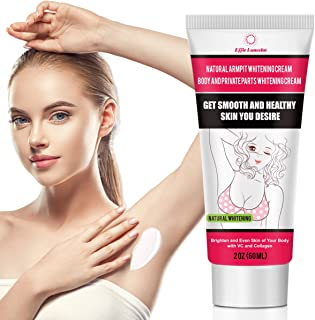 Underarm Whitening Cream, Natural Skin Bleaching Cream with Vitamin C Effective for Lightening & Brightening Armpit, Knees, Elbows Neck, Dark Spots, Private Areas, Whitens, Nourishes, Repairs Skin 60g