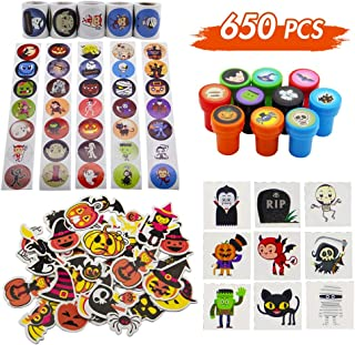 Lulu Home Halloween Stickers and Stamps for Kids, Halloween Assorted Set for Party Favors, Trick-Or-Treat Gift for Kids, 650 Pieces