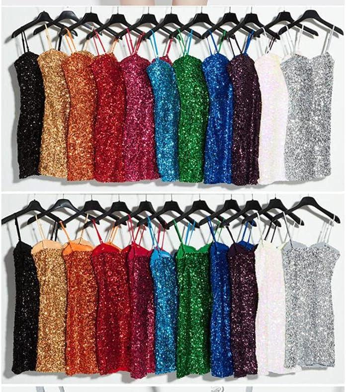 Women Sequin Mini Dress Party Club Show DS Disco Sexy Spaghetti Strap Sleeveless Backless Bodycon Dress-White_one Size