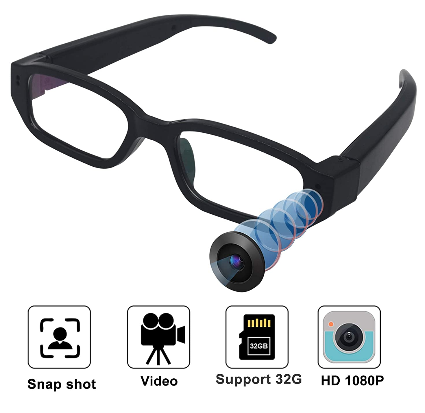 Hidden Camera - Spy Camera HD 1080P Glasses Camera - Mini Spy Camera - Hidden Camera Glasses Surveillance Camera Video-only Hidden Spy Cam No Wi-Fi Needed-No Audio No Support Bugging/Wiretapping