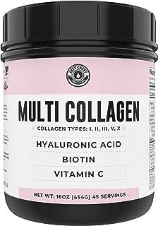 Collagen with Biotin, Hyaluronic Acid, Vitamin C (1 lb Powder) | Hydrolyzed Multi Collagen Peptide Protein (Types I, II, I...