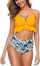 Two Piece Falbala Ruffle Bikini Set, Women's Leaves Print Swimwear Bathing Suits