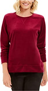 KAREN SCOTT Womens Purple Solid Long Sleeve Crew Neck Sweater AU Size:6