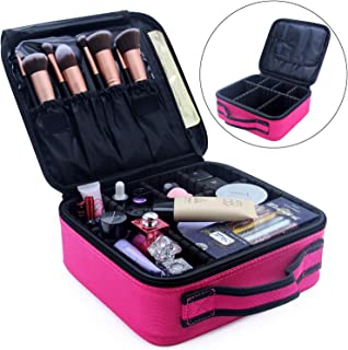 Relavel Travel Makeup Bag Train Case Makeup Cosmetic Case Organizer Portable Artist Storage Bag for Cosmetics Brushes Toiletries Travel Accessories Jewelry Digital Accessories 10.3 inches Hot Pink