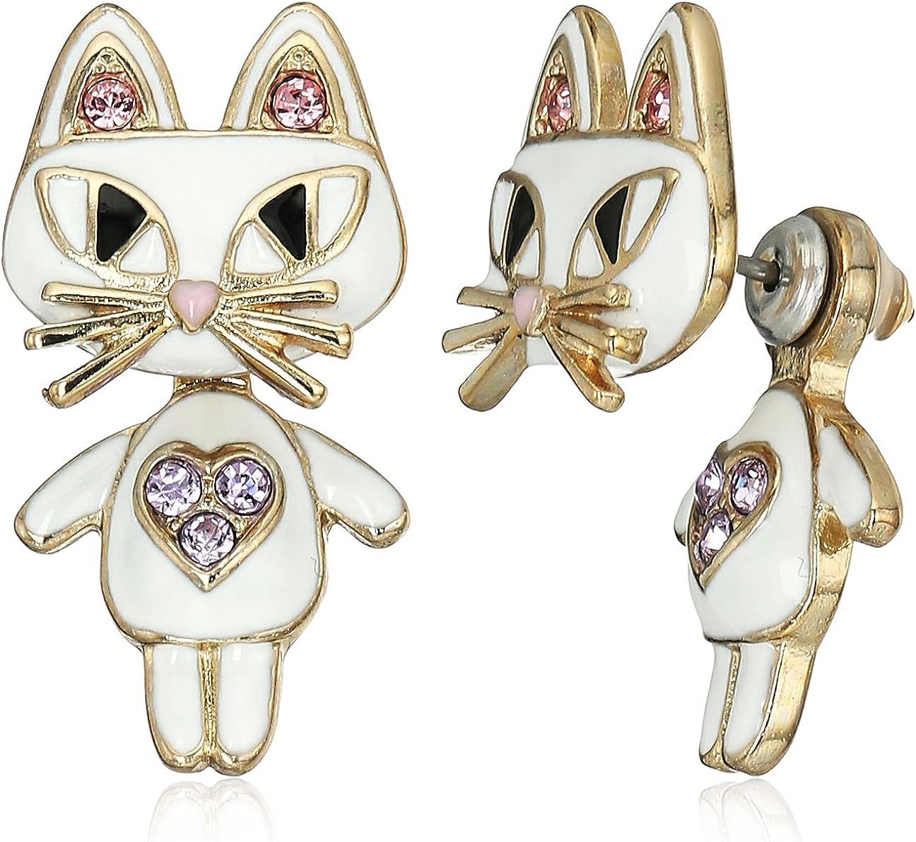Betsey Johnson Cat Front Back Earrings