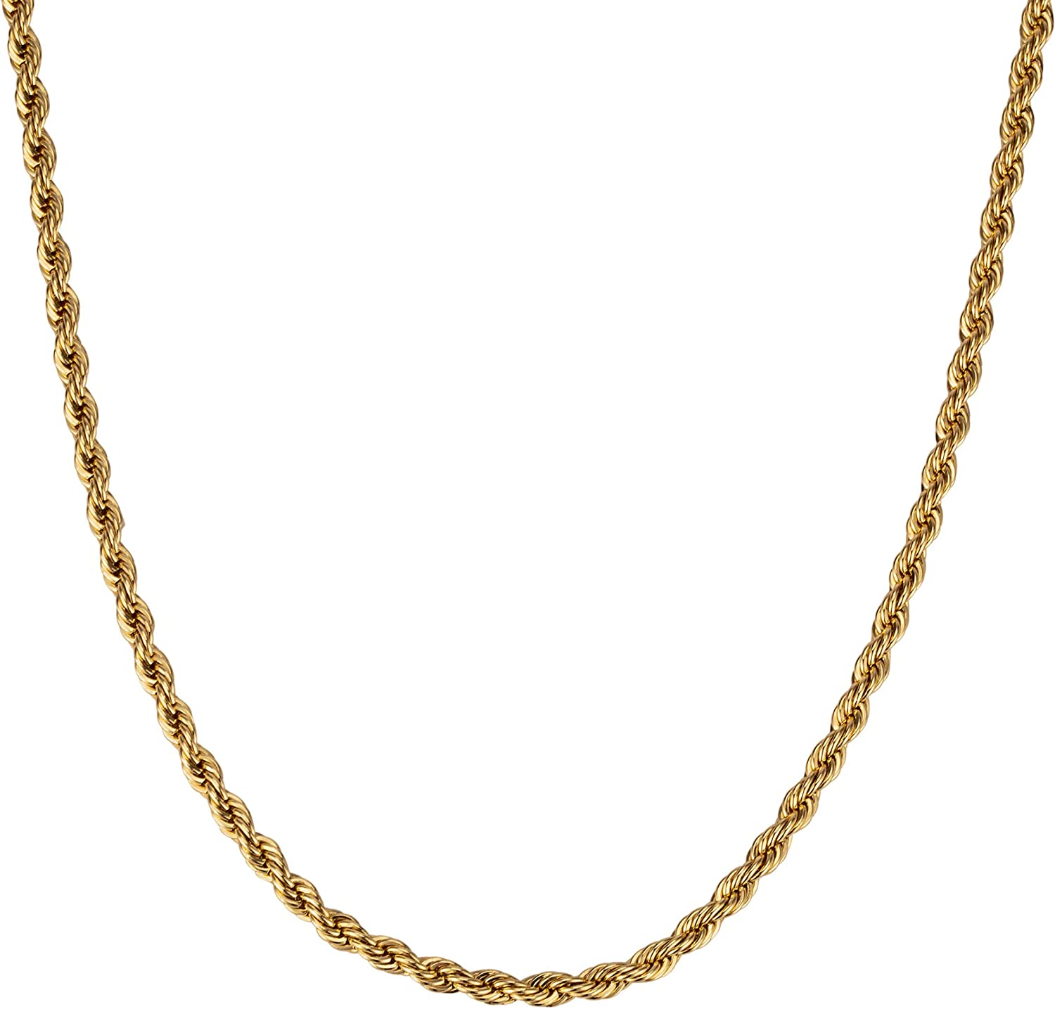 HERMOLANTE 4mm Rope Chain Necklace 18k Real Gold Plated for Women Men Teen 18 Inches