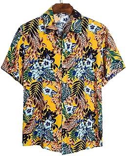 Camisa de Playa de Calidad Camisa Hawaiana de Manga Corta para Hombre Camisa Casual de Verano con Estampado para Hombre Bl...