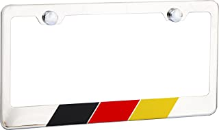 International Tie Germany, German Flag License Plate Frame, Chrome High Grade 304 Stainless Steel …