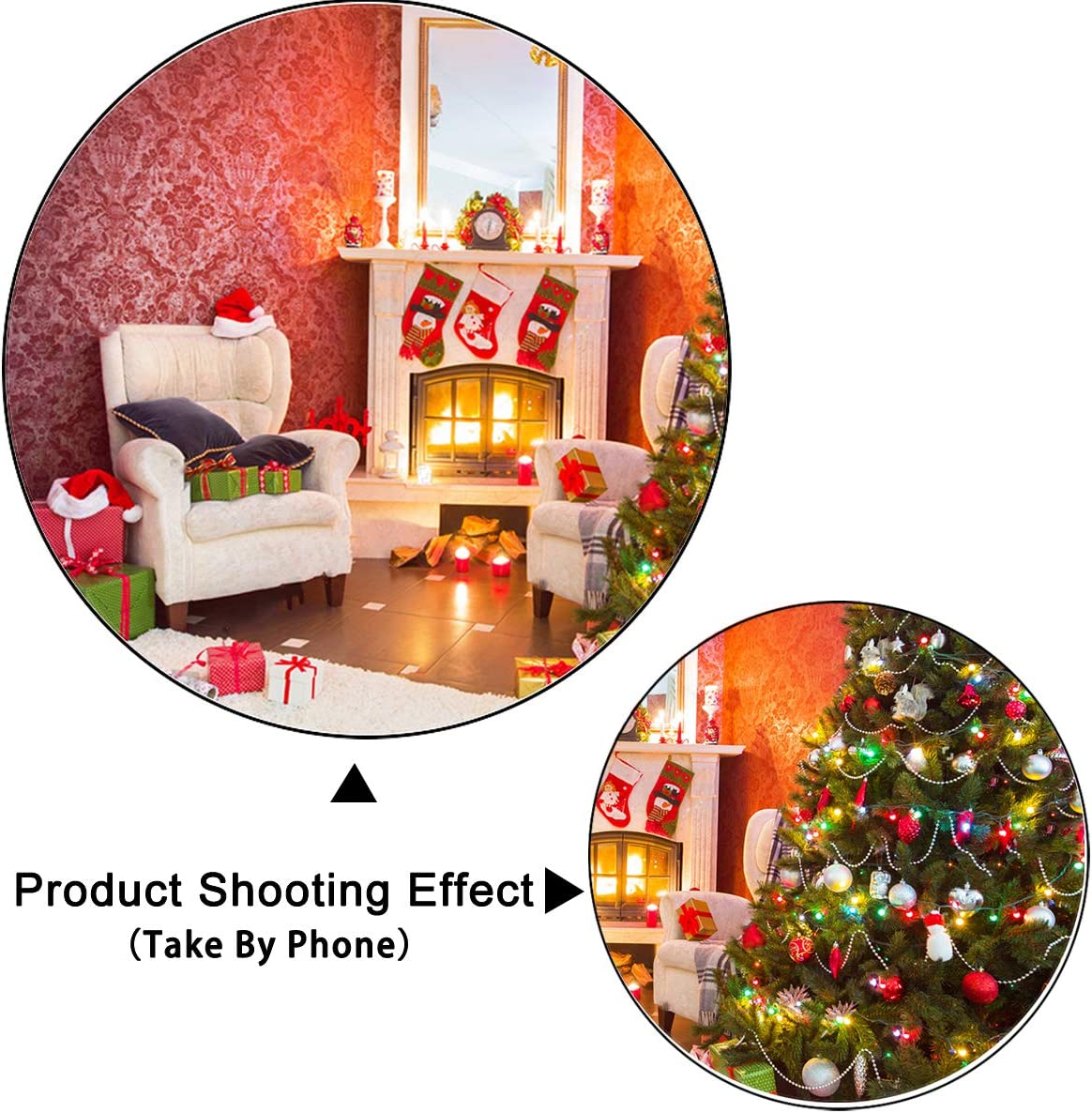 Levoo Flannel Fireplace Christmas Tree Background Banner Photography Studio Child Baby Birthday Family Party Christmas Holiday Celebration Photography Backdrop Home Decoration 5x3ft,chy670