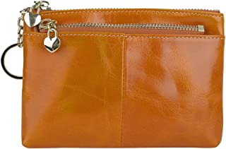 YALUXE Women's Small Size Triple Zipper Leather Coin Wallet Card Holder with Keyring Brown