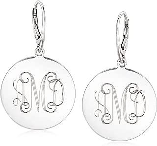 Italian Sterling Silver Monogram Disc Drop Earrings