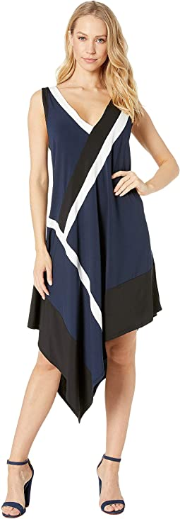 Color Blocked Handkerchief Dress