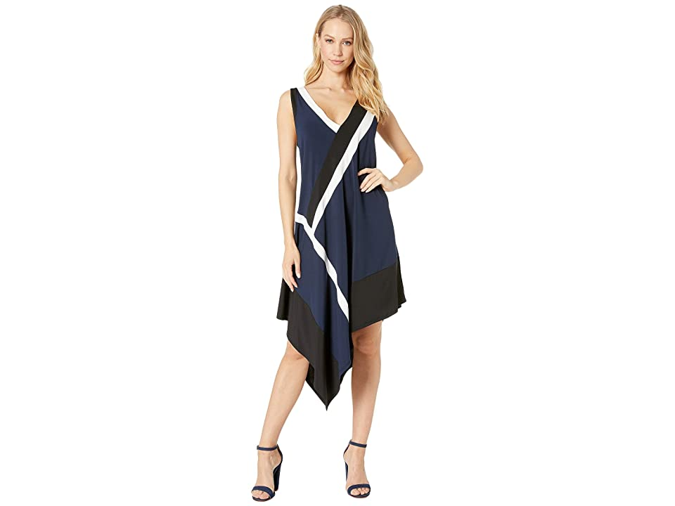 BCBGMAXAZRIA Color Blocked Handkerchief Dress (Dark Navy Combo) Women's Clothing