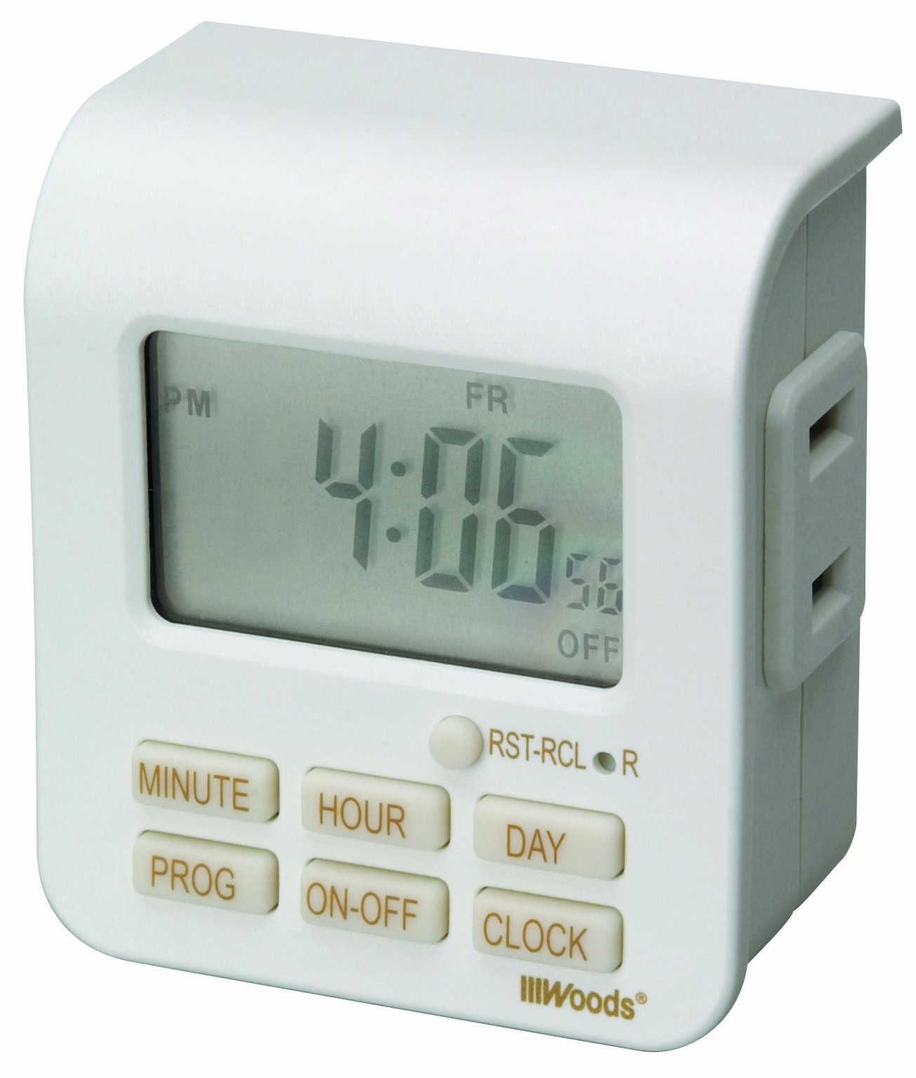 Woods 50008 Indoor 7-Day Digital Outlet Timer, Programmable (20 On/Off Settings), White