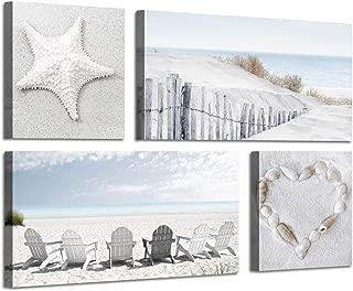 Beach Wall Art Seascape Print: Starfish & Chair on Seaside Giclee Artwork Painting on Canvas for Wall Decor (12