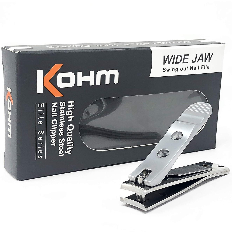 抜け目がない食用トリッキーKohm WHS-440L厚手の爪のための足のつかみ4mmの広い顎、湾曲した刃、釘のファイル、ヘビーデューティ。