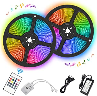 Music LED Strip Lights, 32.8Ft/10M Color Changing Rope Lights Kit Waterproof 5050 Flexible RGB Light Strips with IR Remote Controller Sync to Music for Home Indoor Party Christmas Decoration