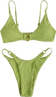 Floerns Women's 2 Piece Bathing Suit Rib Knit Linked High Cut Bikini Swimsuit