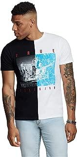 True Religion Men's Buddha Water Split Tee T-Shirt in Black/White
